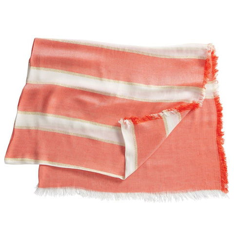 Striped Shimmer Scarf In Coral With Fringe