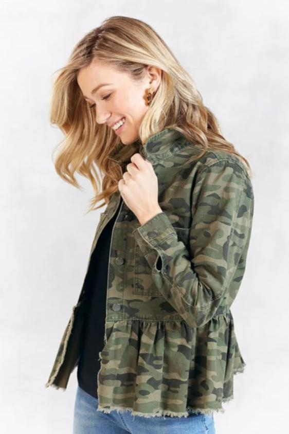Banks Peplum Denim Jacket, Camo