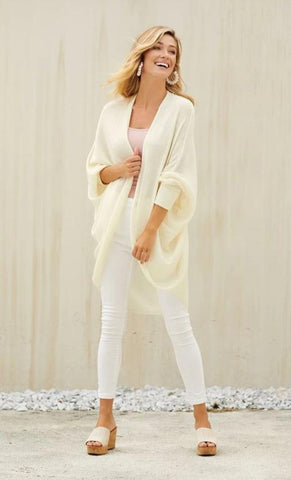 Memphis Cocoon Cardigan In Cream