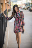 Free People All Dolled Up Paisley Mockneck Mini Dress