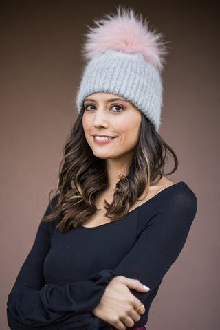 Fur Pom Pom Hat - Grey/Pink