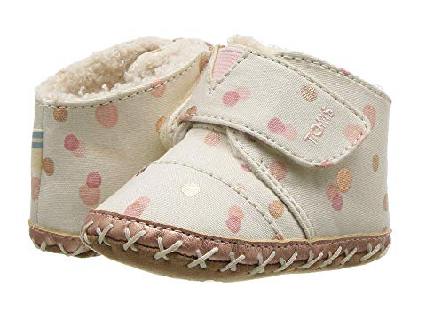 Tiny TOMS Cuna Crib Shoes In Pale Blush Party Dots