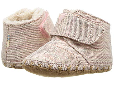 Tiny TOMS Cuna Crib Shoes In Rose cloud Twill Glimmer
