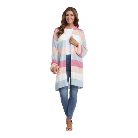 Nylah Striped Cardigan, Pink