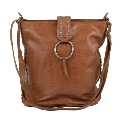 Leora Leather Bag, Cognac