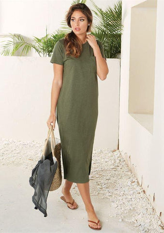 Grayson Side Slit T-Shirt Dress in Olive