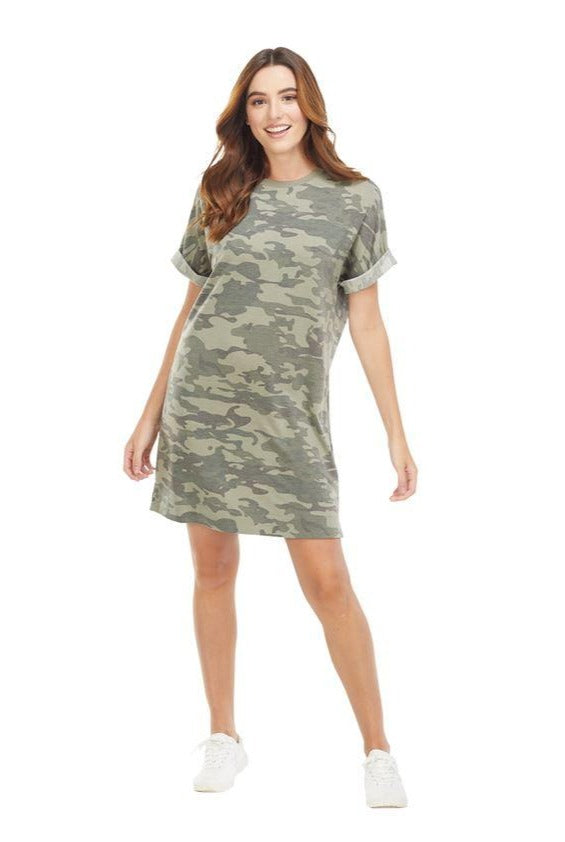 Elliot T-Shirt Dress, Green Camo