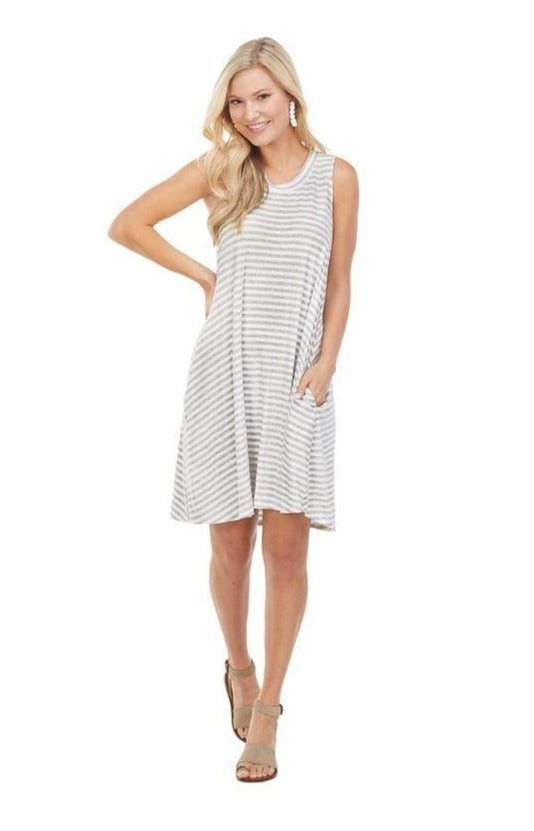 Maya Swing Dress in Grey Stripes