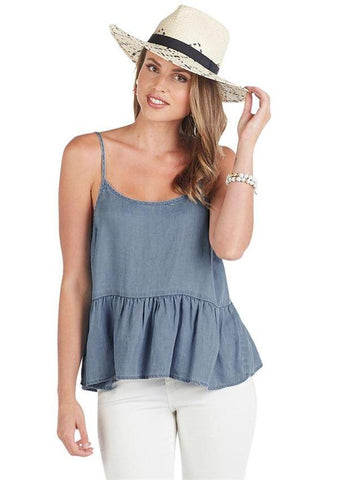 Bel Air Peplum Tank In Denim Blue