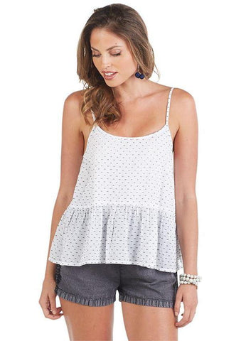Bel Air Peplum Tank In White And Navy