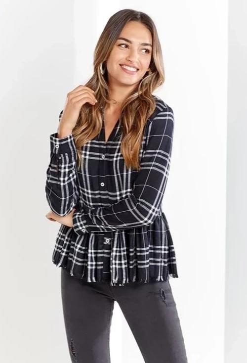 Prescott Peplum Button-Up in Black Plaid