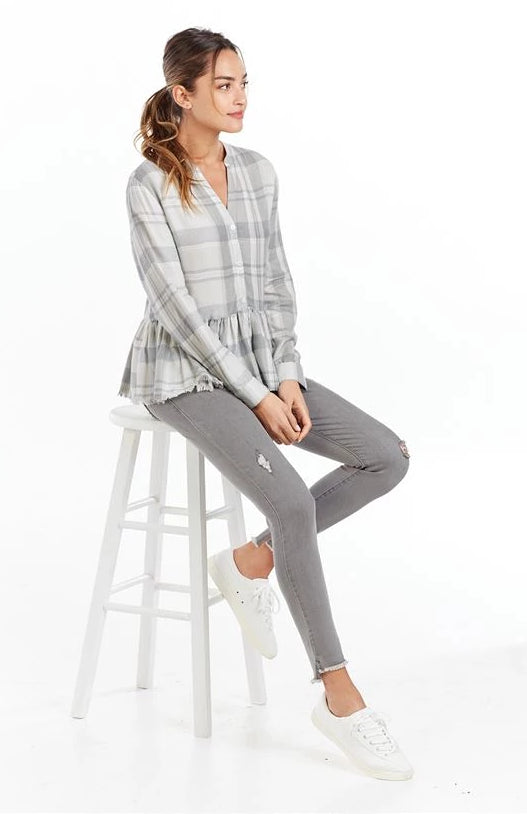 Prescott Peplum Button-Up in Gray Plaid