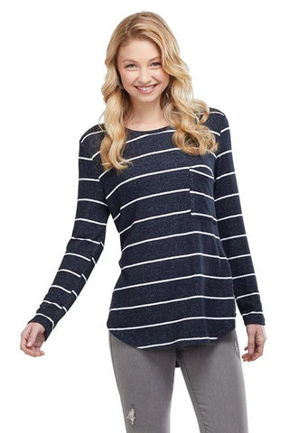 Billie Long Sleeve T-Shirt in Black Stripe