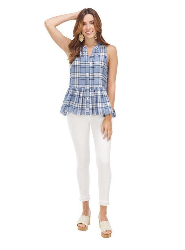 Rita Peplum Button Down Tank In Blue