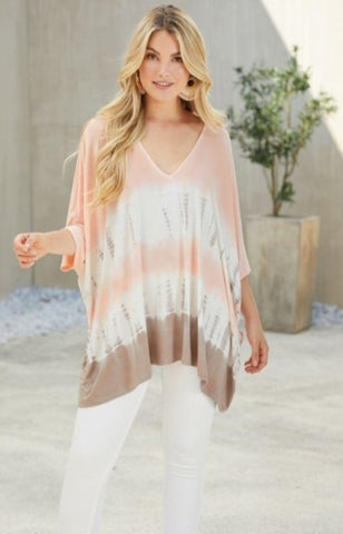 Lindy Tie Dye Tunic In Blush