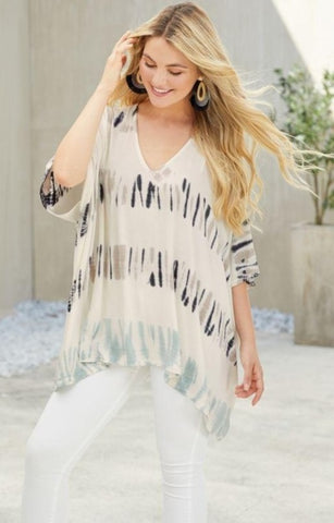Lindy Tie Dye Tunic In Cream