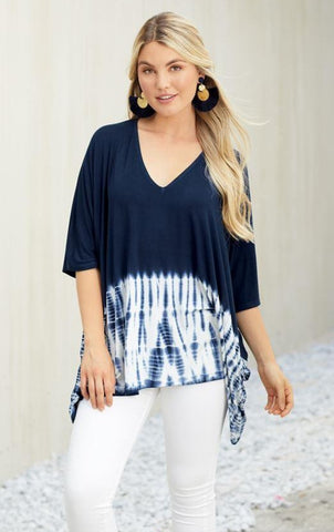 Lindy Tie Dye Tunic In Navy