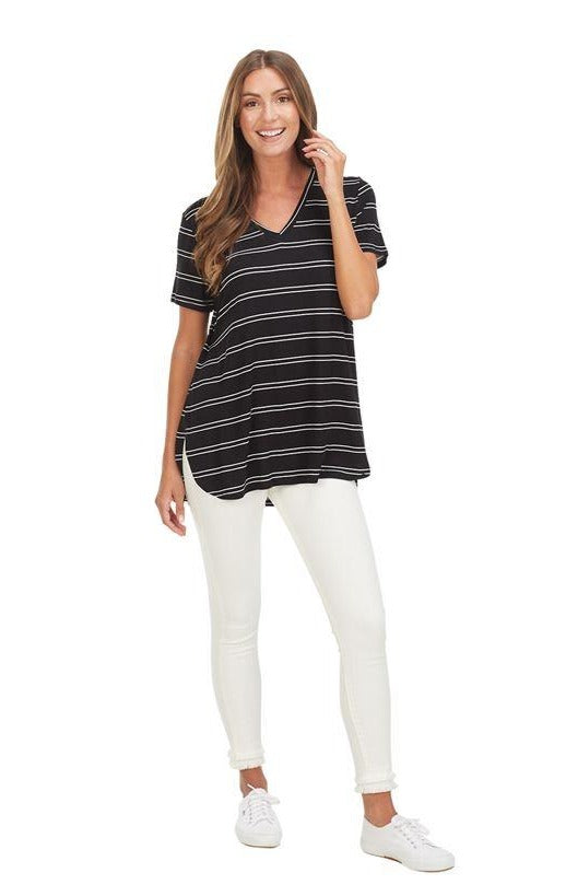 Dani Black Striped V-Neck