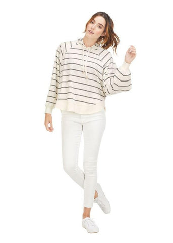 Greer Striped Hoodie in Cream