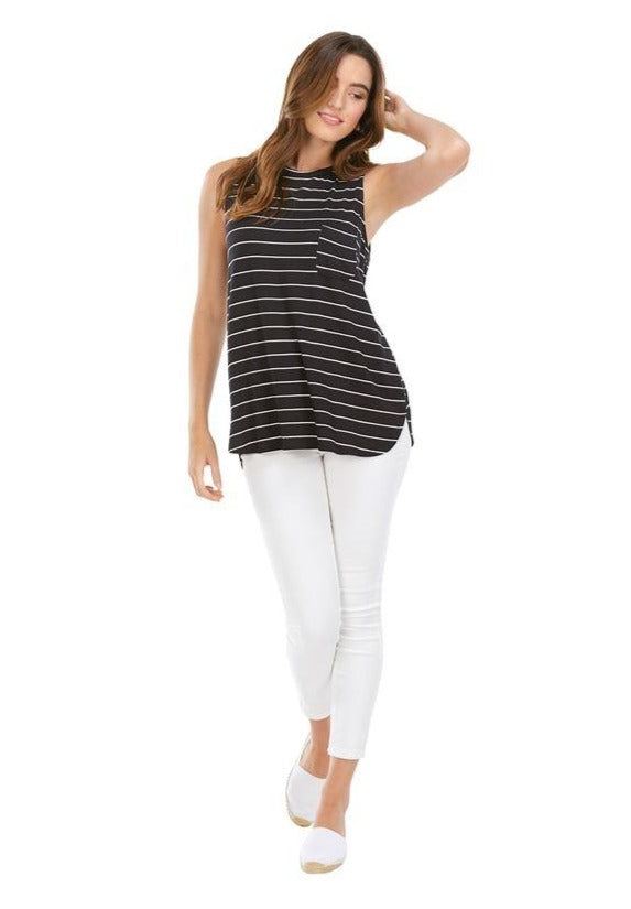 Cason Black Stripe Tank
