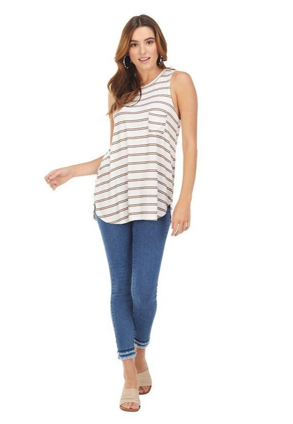 Cason White Striped Tank