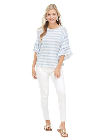 Kae Ruffle Sleeve Top, Blue Stripes