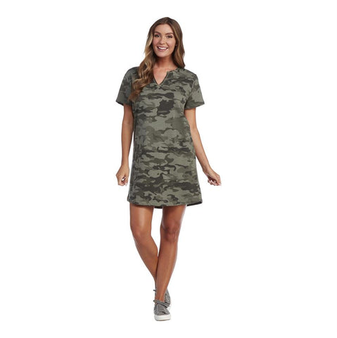 Cassidy V-Neck Dress, Camo Green