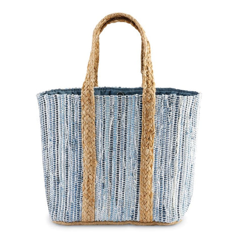 Metallic Jute Tote Bag in Blue