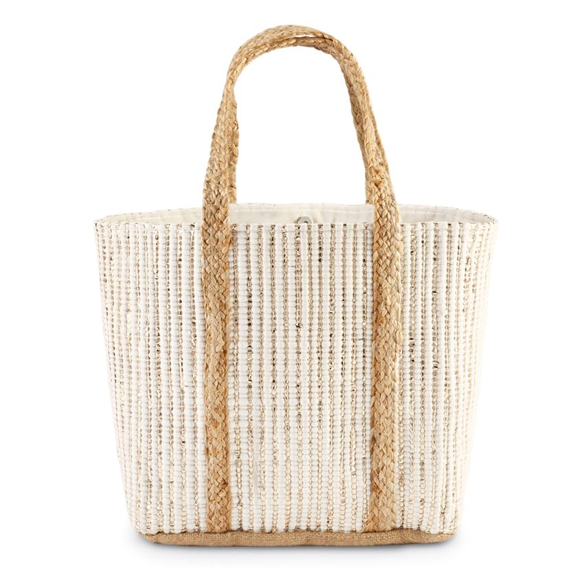 Metallic Jute Tote Bag in Cream