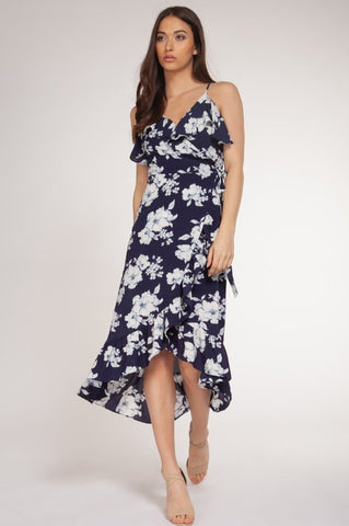 Fabiene Wrap Dress, Blue Florals