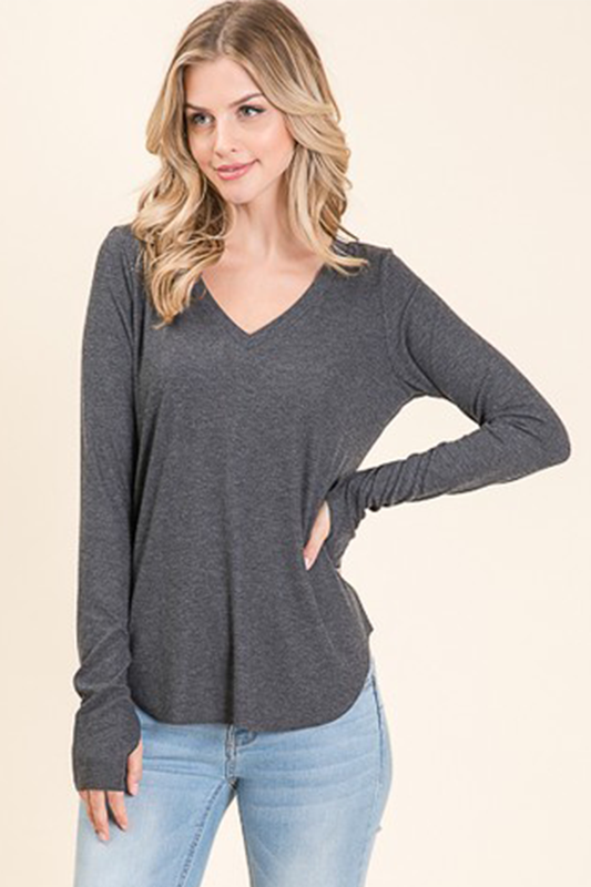 Candy Thumbhole Top in Charcoal