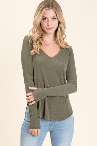 Candy Thumb Hole Top in Olive