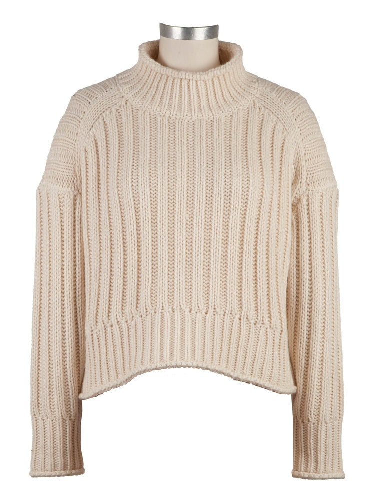 Leona Ribbed Turtleneck, Ivory