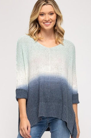 Gwen Dip-Dyed Knit Sweater, Mint/Navy