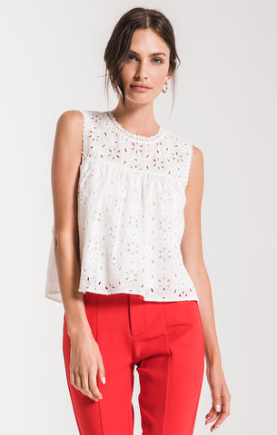 Pearl White Eyelet Sleeveless Top