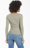 Blaine Rib Long Sleeve Henley Top, Meadow Green