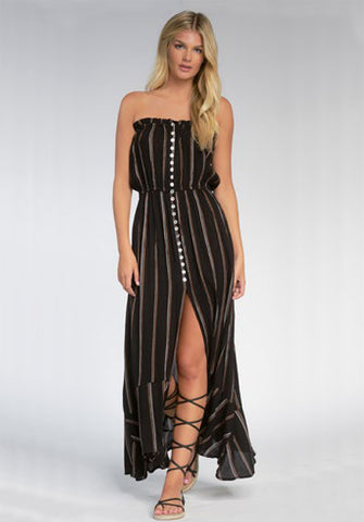 Bandeau Striped Maxi Dress