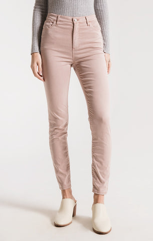 Rag Poets Hanover Sateen Skinnies In Dusty Rose