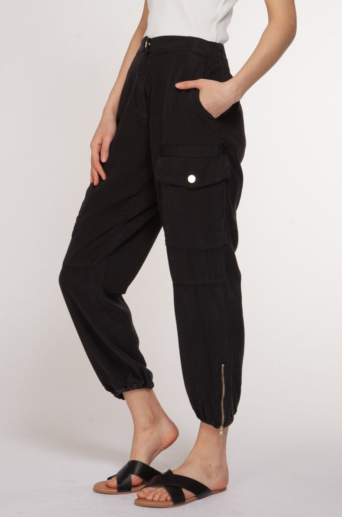Milan Zip Cargo Pants, Black