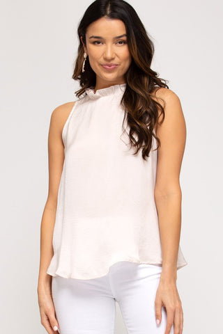 Emmy Ruffled Neck Top, Ecru