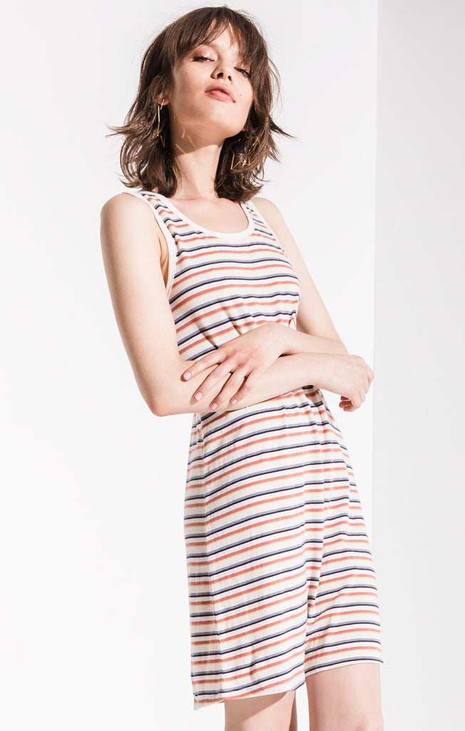 Others Follow Sammy Striped Tank Dress In Ivory