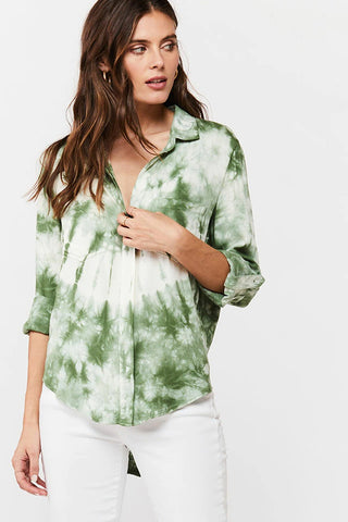 Riley Tie-Dye Button-Up Shirt, Olive