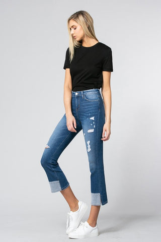 Elphaba Cropped Flare Jeans In Noble