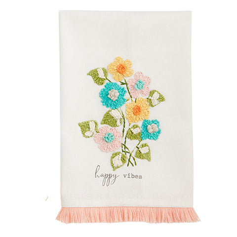 """Happy Vibes"" Floral Towel"