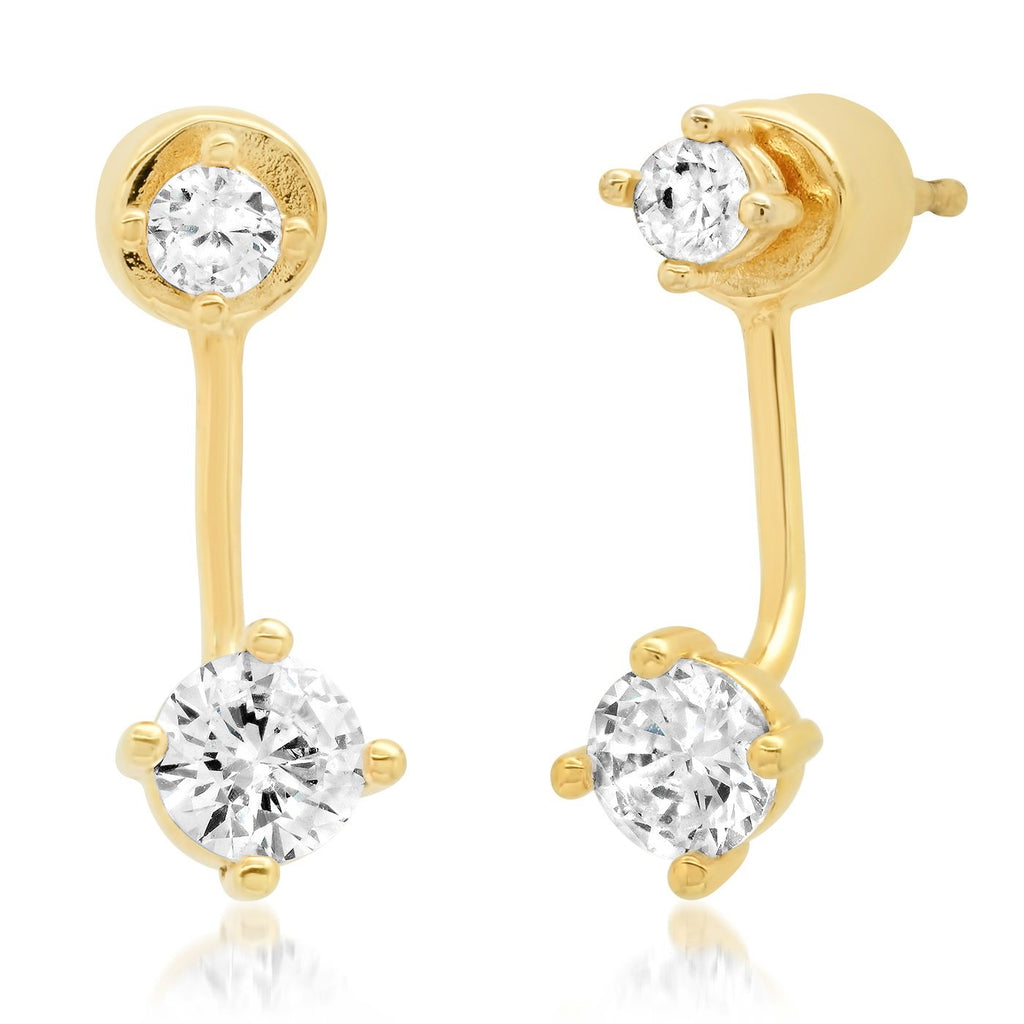 Simple CZ Jacket Earrings
