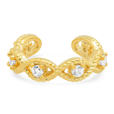 Braided Gold Ear Cuff with CZ Accents