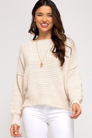 Harlen Textured Knit Sweater, Ecru