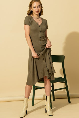 Silya Ribbed V-Neck Dress, Smoke Olive