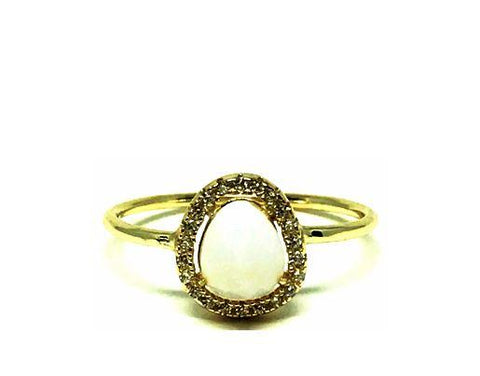 Crystal Halo Moonstone Ring, Gold