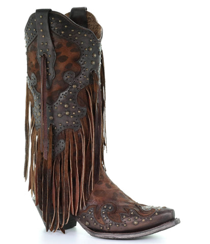 Corral Leopard Overlay Fringed Boots